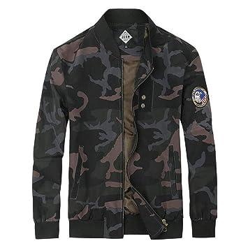 HUAN Chaqueta de Camuflaje para Hombre Casual Bomber Chaquetas Abrigos Juventud Militar Slim-fit Prendas de Vestir Exteriores clásicas (Color : 1, ...