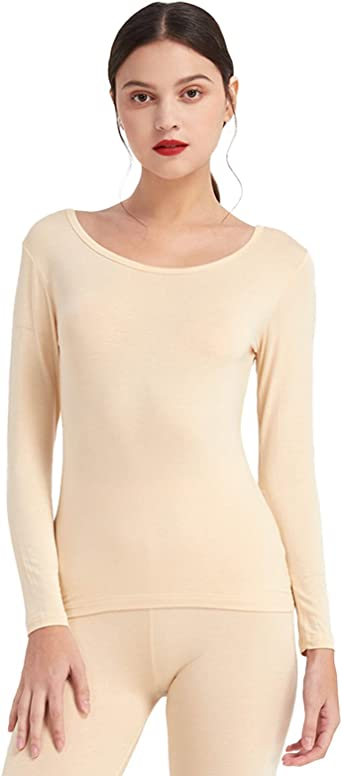 Mcilia Camiseta Interior para Mujer de Capa Térmica Modal de Manga Larga con Cuello Redondo Bajo: Amazon.es: Ropa y accesorios