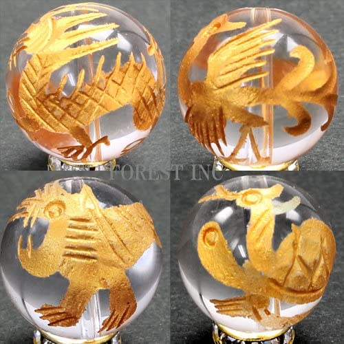 천연 석 영 금 조각 4 신 수 비드 (주작) 【 곡물 판매 】 약 10mm 주작 〔 천연 석 파워 돌 액세서리 〕 / Natural Crystal Gold Carving Shijin Beast Beads (Suzaku) [Grain Sal