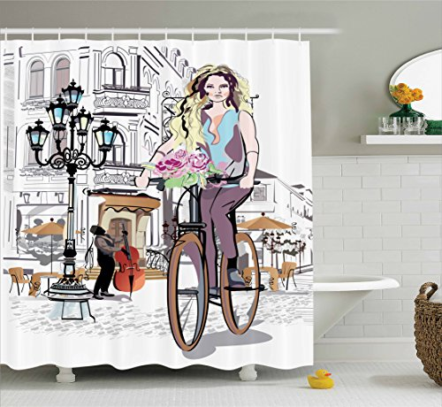- Ambesonne Fashion House Decor Shower Curtain, Girl with Bike and Roses in a Street Old Town Musician Romantic Tour in City, Fabric Bathroom Decor Set with Hooks, 84 Inches Extra Long, Pink