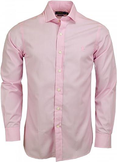 Ralph Lauren Camisa básico Rosa Slim Fit para Hombre Rosa Rose: Amazon.es: Ropa y accesorios