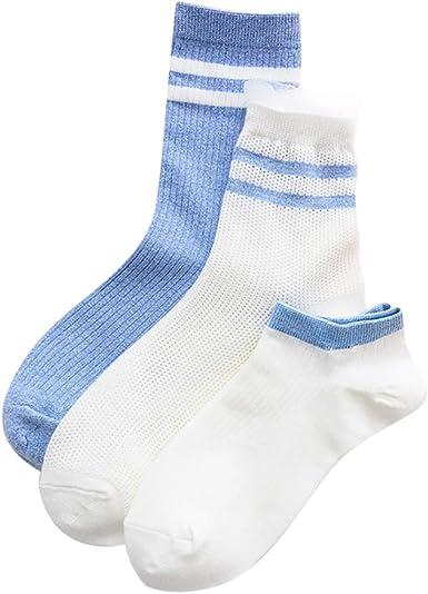 ZOYLINK 3 Pares Calcetines Para Mujer Medias De Algodón Calcetines Surtidos Calcetines Para Barco: Amazon.es: Ropa y accesorios