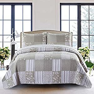 SLPR Silent Reverie 3-Piece Lightweight Printed Quilt Set (King) | with 2 Shams Pre-Washed All-Season Machine Washable Bedspread Coverlet