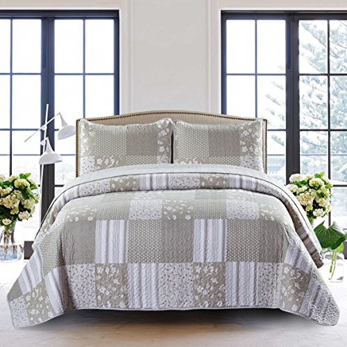 SLPR Silent Reverie 2-Piece Lightweight Printed Quilt Set (Twin) | with 1 Sham Pre-Washed All-Season Machine Washable Bedspread Coverlet - Oasis Bed Set