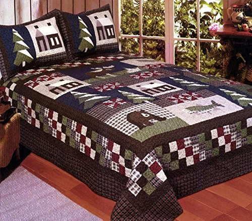 American Hometex Mountain Trip King Quilt Set