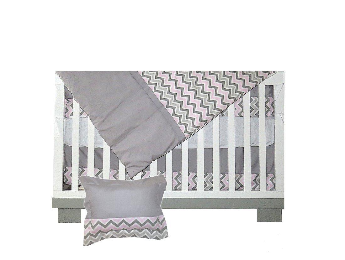 BEBELELO-gray and pink chevron crib baby bedding