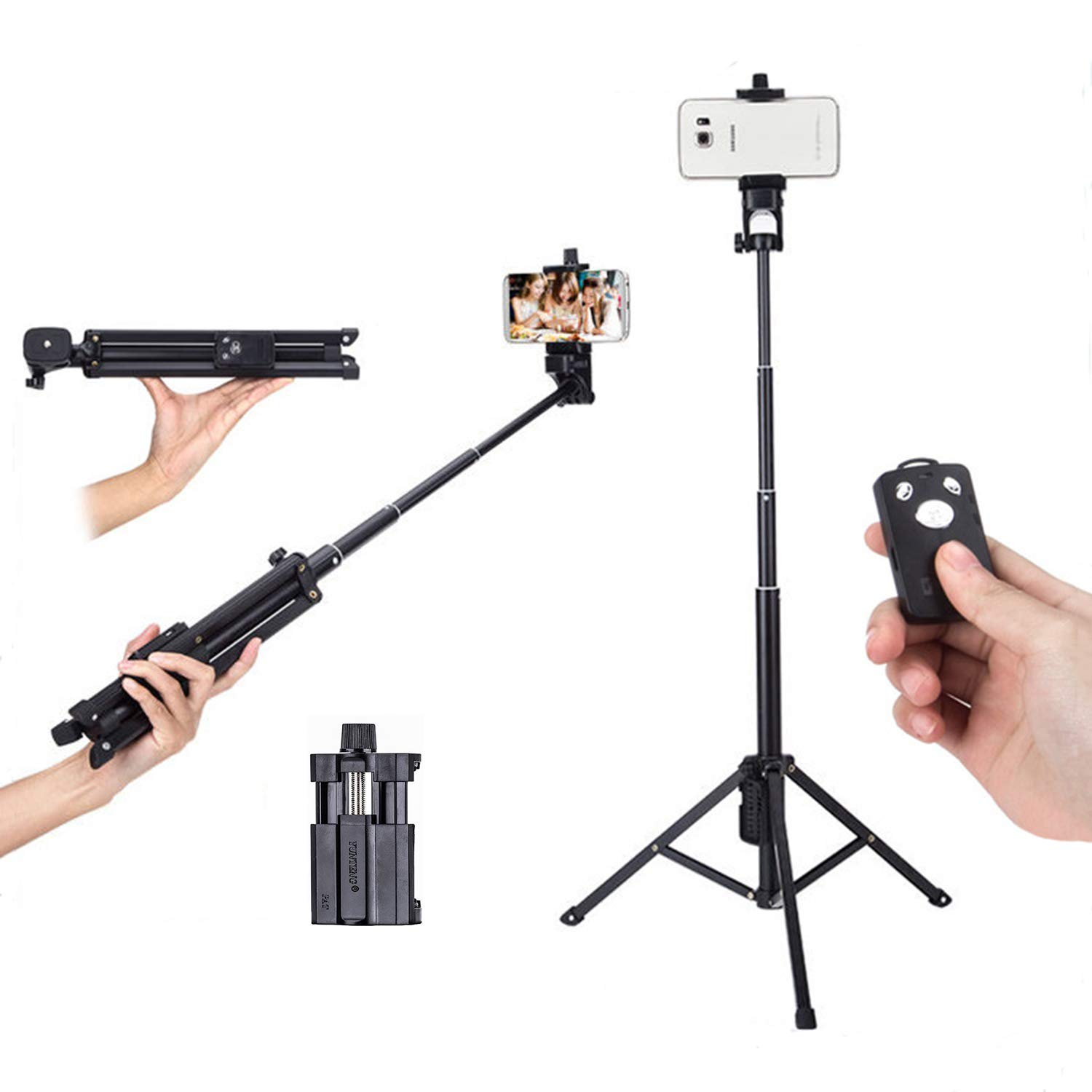 Bluetooth Selfie Sticks & Cell Phone Tripods Premium Selfie Stick Tripod with Detachable Remote & Storage bag Extendable Monopod for iPhone X/XS Max/XR/8 Plus/7/6S Plus, Galaxy S9/S9 Plus/S8,GoPro & A by MMGN