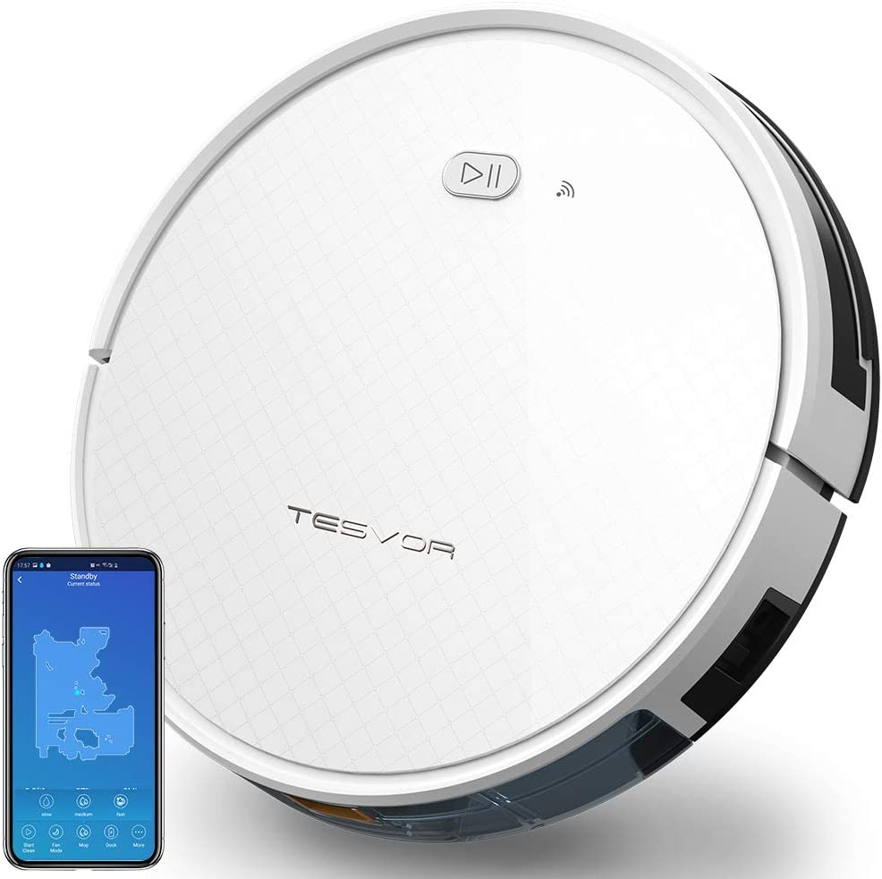 Tesvor Robot Vacuum and Mop Cleaner with Water Tank, 1800Pa Powerful Suction Robotic Vacuum Cleaner for Dust and Pet Hair, App Control, Route Planning, Alexa Voice Control