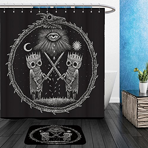 Vanfan Bathroom 2Suits 1 Shower Curtains & 1 Floor Mats war of kings two skeleton king warring sword against the backdrop of god s eye on the background 501559801 From Bath room