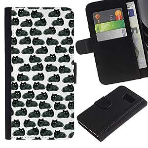 EJOY---La carpeta del tirón la caja de cuero de alta calidad de la PU Caso protector / Samsung Galaxy S6 / --Dibujo Negro Gatos Wallpaper