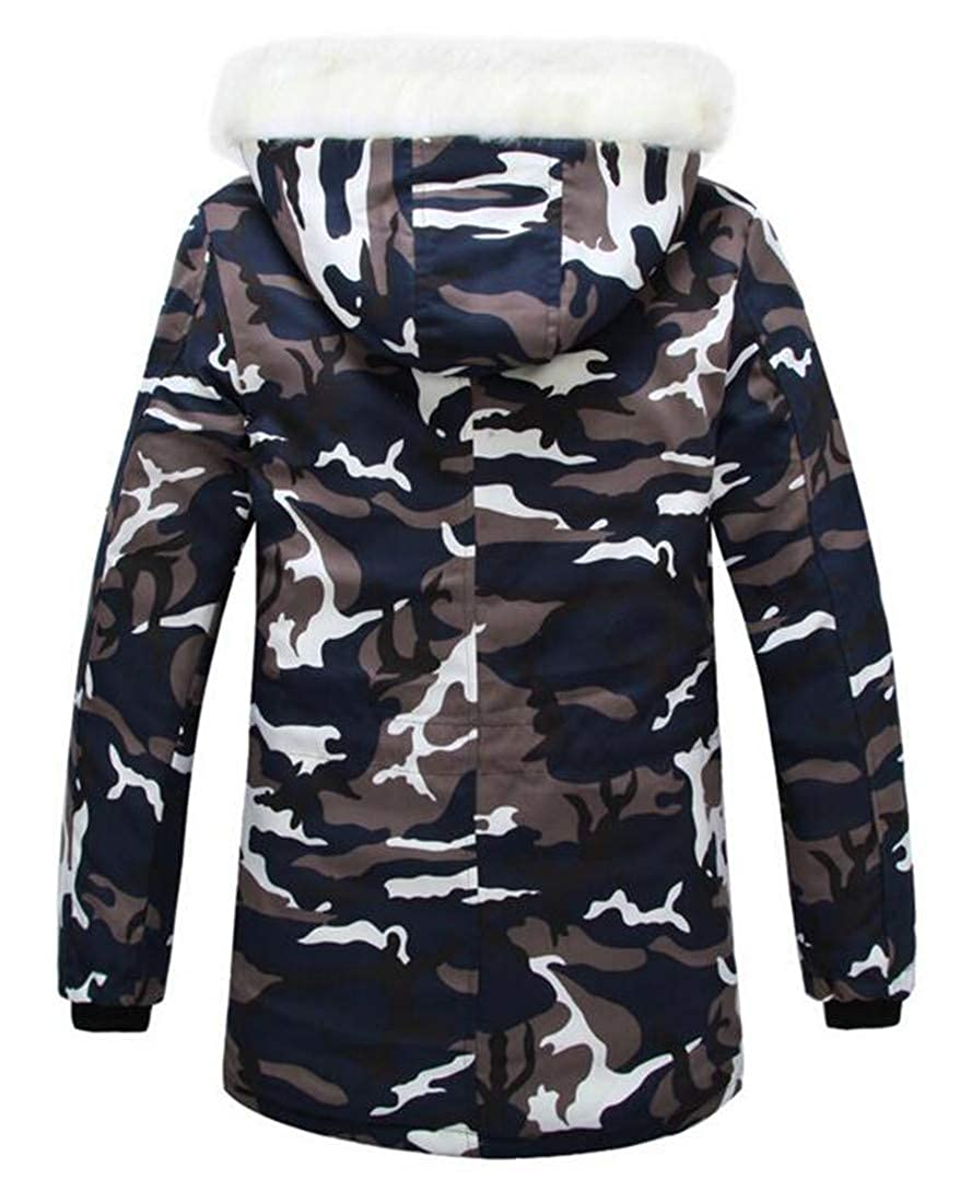 XXBlosom Mens Vogue Camo Quilted Warm Faux Fur Hooded Parkas Coats Jacket