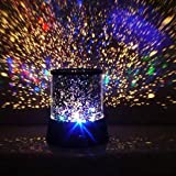Colorful Romantic LED Cosmos Star Master Sky Starry Night Projector Bed Light Lamp for Kid's Christmas Gift (No USB Cable) ()