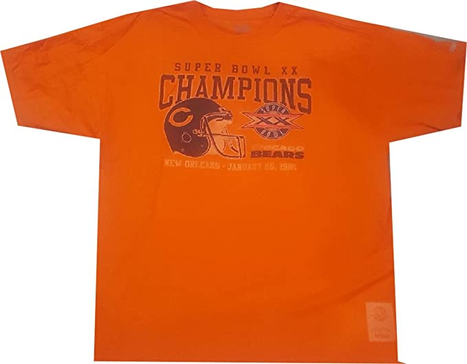 bde96fd22a9 Chicago Bears 1986 Super Bowl 20 Champions Orange Pro Style T Shirt (Small)