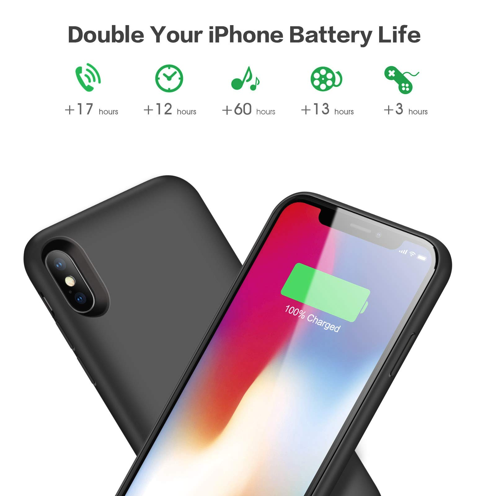 Battery Case for iPhone X/Xs, [6500mAh] Xooparc Protective Portable Charging Case Rechargeable Extended Battery Pack for Apple iPhone Xs&X (5.8') Backup Power Bank Cover - Black by Xooparc (Image #2)