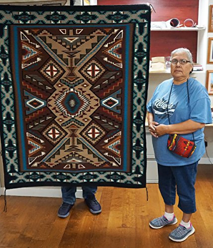 Perry Null Trading Rosemary Sagg, Teec Nos Pos Runner, Handwoven Navajo Wool Rug, 62 in x 51 ()