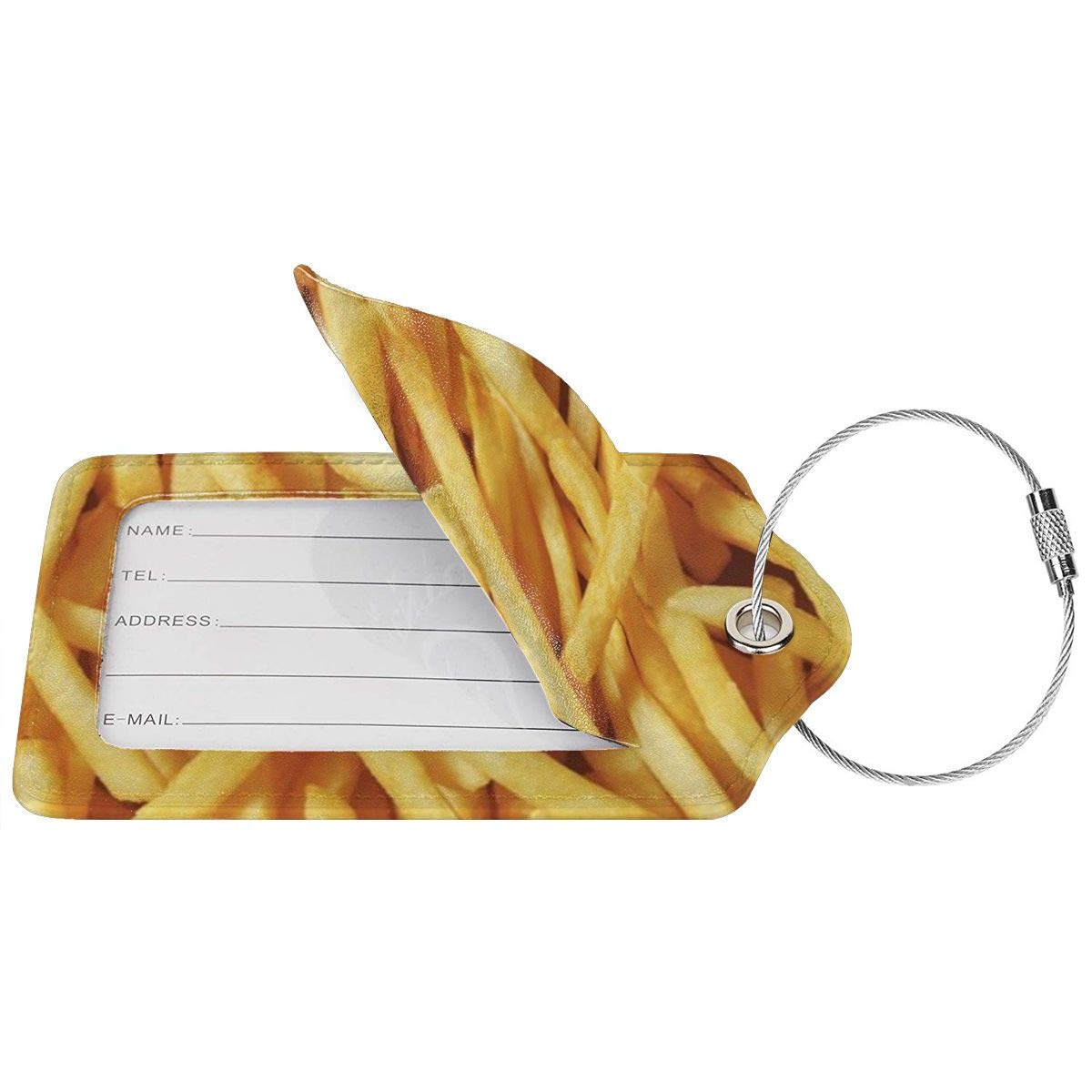 French Fries Travel Luggage Tags With Full Privacy Cover Leather Case And Stainless Steel Loop
