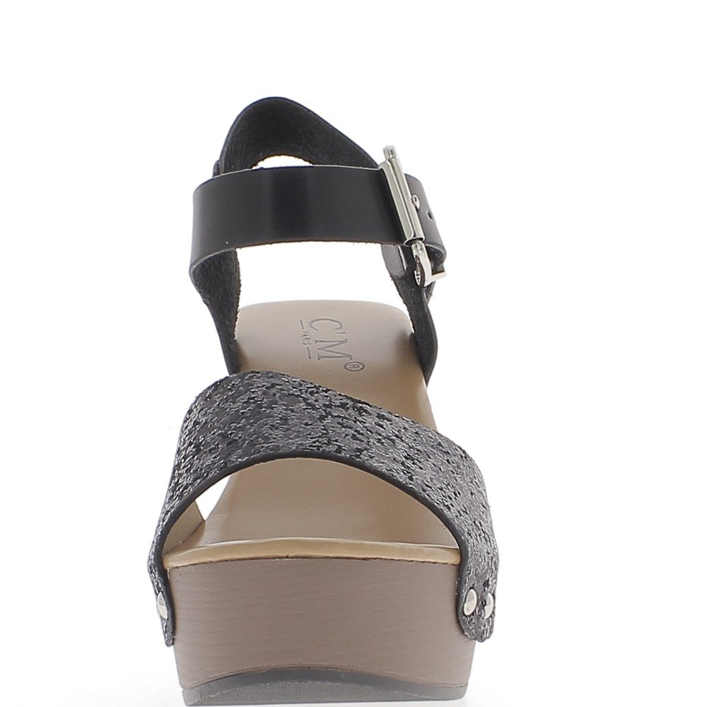 091b26c8add ChaussMoi Black Big 9.5 cm Heel and Platform Sandals Thick Aspect Leather  and Sequins - 8  Amazon.co.uk  Shoes   Bags