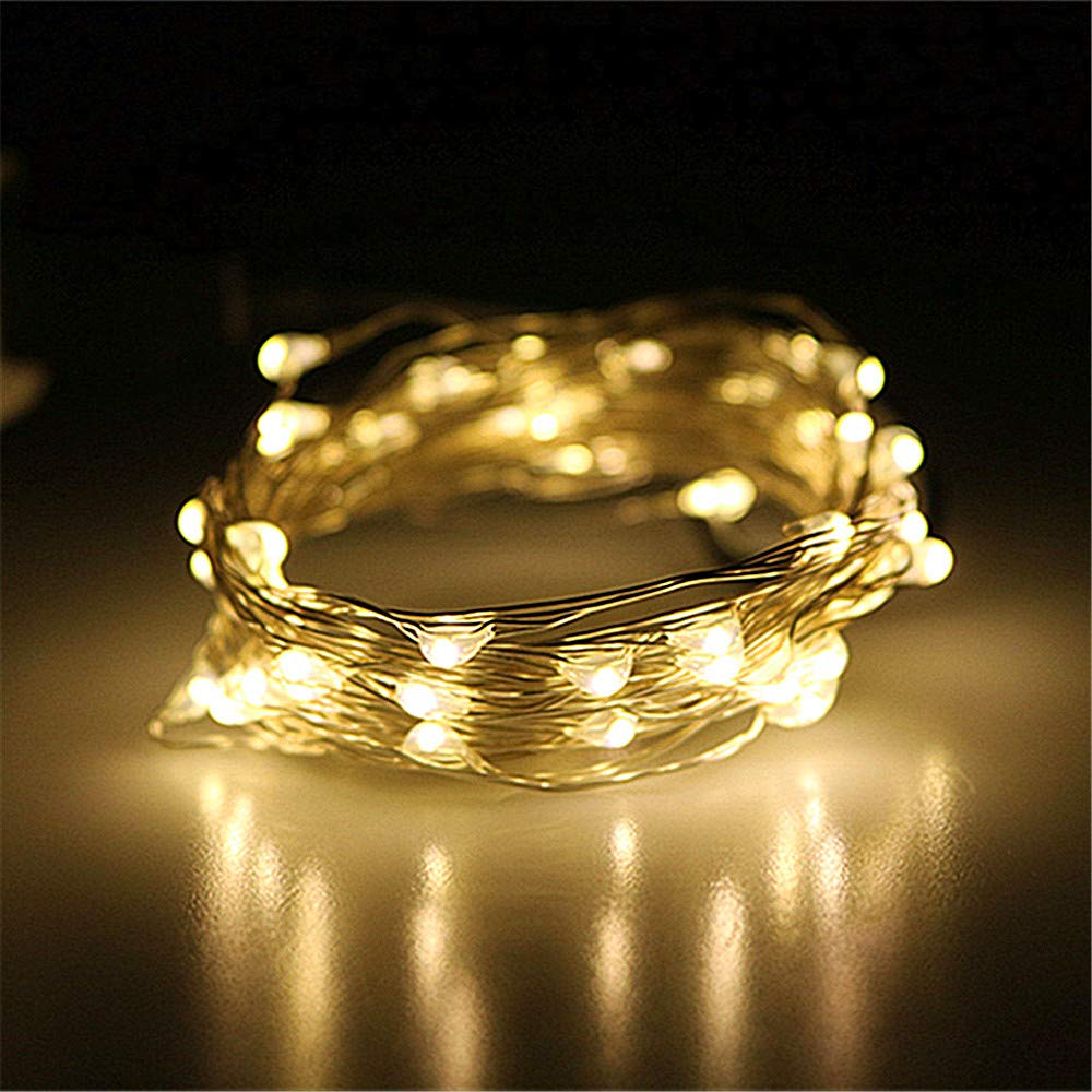 LEDLuces 5M/16.5ft 50 LEDs String Lights, USB Powered Low Voltage Waterproof Starry Fairy LED String Lights for Indoor Outdoor Decoration - Silver Wire(Warm White)