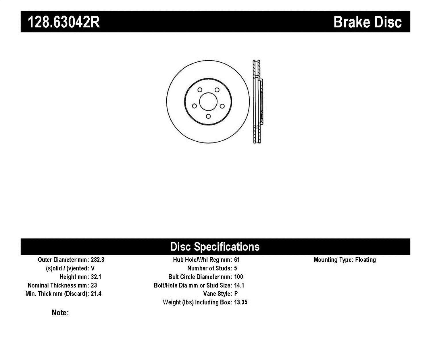 StopTech 128.63042R Sport Cross Drilled Brake Rotor; Front Right