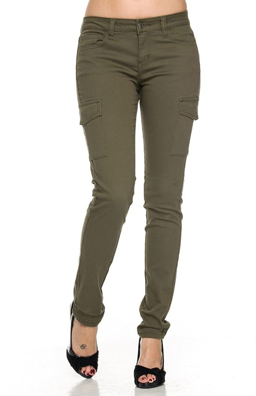 2LUV Women's Fashionable Skinny Cargo Twill Pants