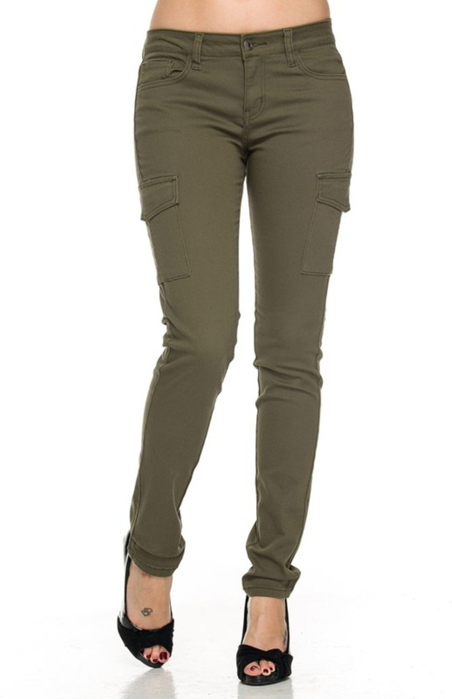 2LUV Women's Fashionable Skinny Cargo Twill Pants Olive 13
