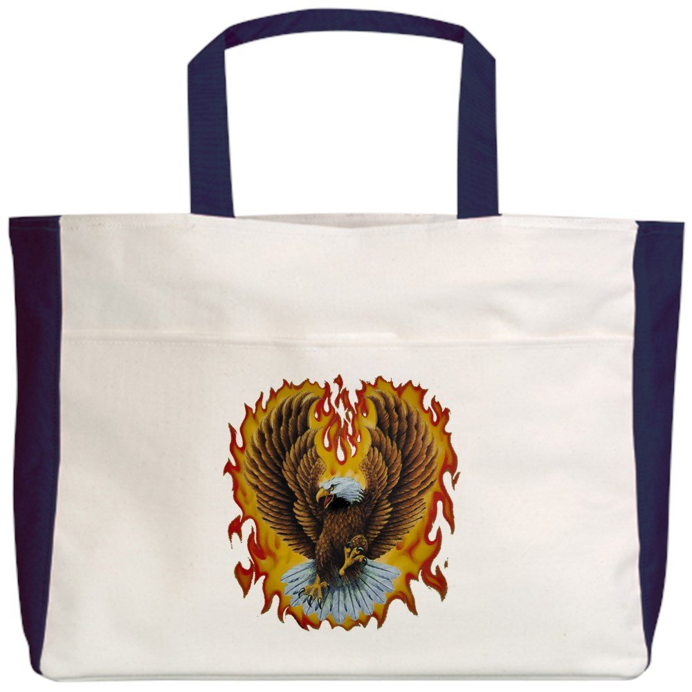 Royal Lion Beach Tote (2-Sided) Eagle with Flames - Navy