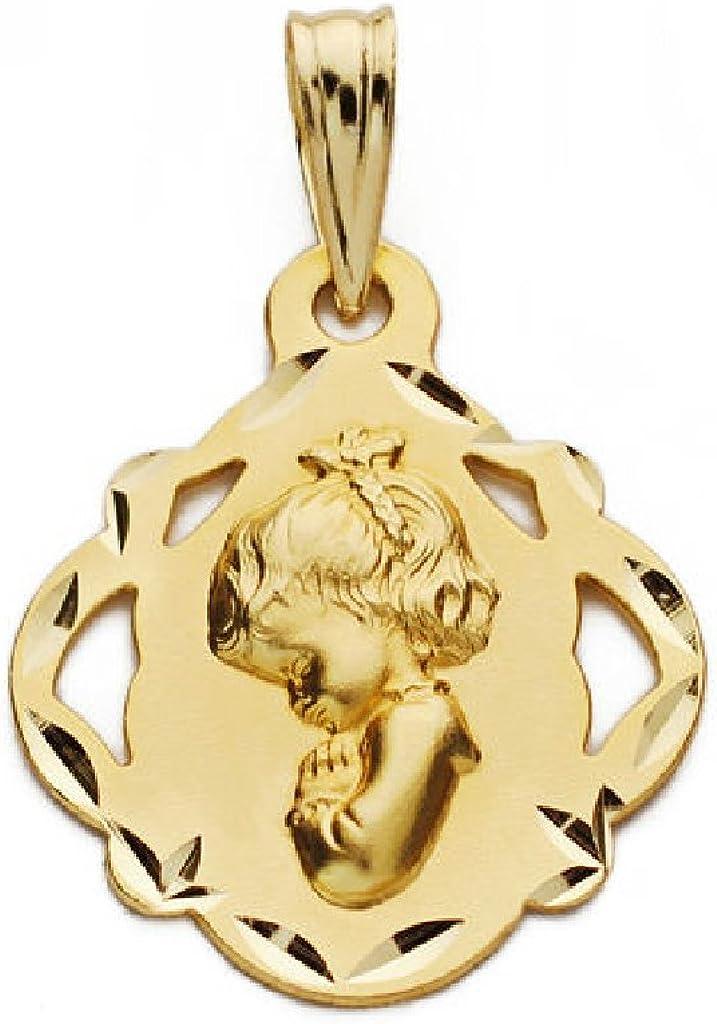 Medalla Beb/é//Ni/ña Oro 18 ktes MacizaTama/ño 16 mm Virgen Ni/ña