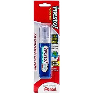 Pentel Presto! Jumbo Correction Pen, Fine Point, Metal Tip, White, 12 ml/0.4 fl.oz. 1 Pack (ZL31WBP-K6)