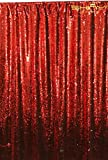 ShinyBeauty Mermaid-Sequin Curtain-Backdrop-Red&Silver-8FTx10FT,Reversible Sequin Fabric Backdrops Apply to Party/Wedding/Event/Prom/Birthday Dinning Party Photography (Red&Silver)