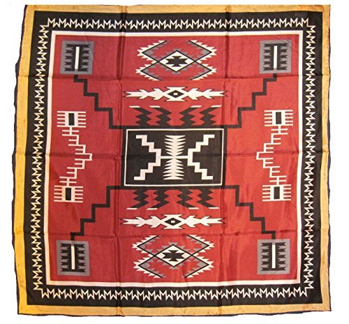Wyoming Traders Western Cowboy Buckaroo Aztec Print Silk Bandana Scarf Wild Rag, Maroon-black , Large