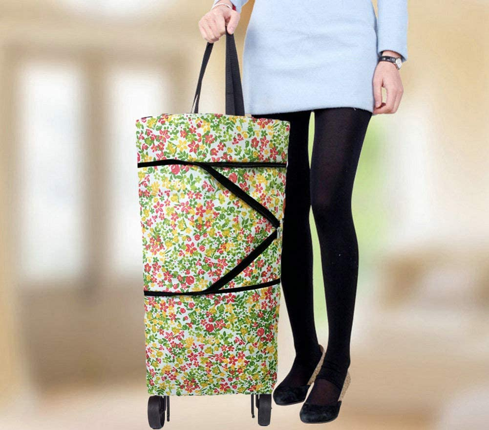 Red A001 Cocobuy Shopping Bag with Wheels Foldable Shopping Cart with Wheels Collapsible Trolley Bags Reusable Shopping Bags on Wheels Shopping Trolley Bag