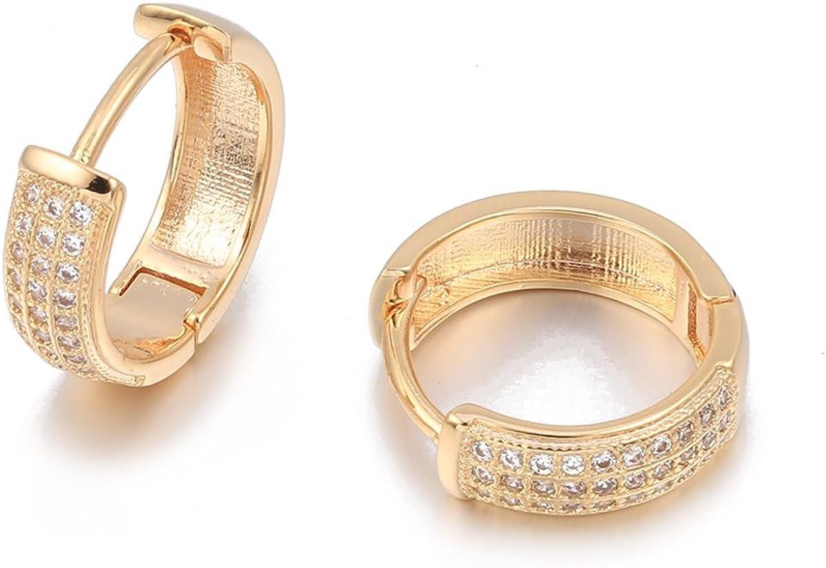 Pendiente de aro para mujer, Pendiente de plata dorado Pendientes de niña Pendiente de acero inoxidable con cristal