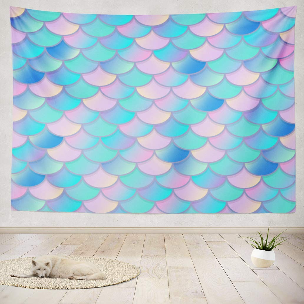 Yguii Tapestry Wall Art Mermaid Tale Scale Fish Pink Skin Backdrop Bright Colorful Geometric Wall Hanging Tapestry For College Adults Kids Room Decor Wall Blanket 60 X 71 Home Home Decor