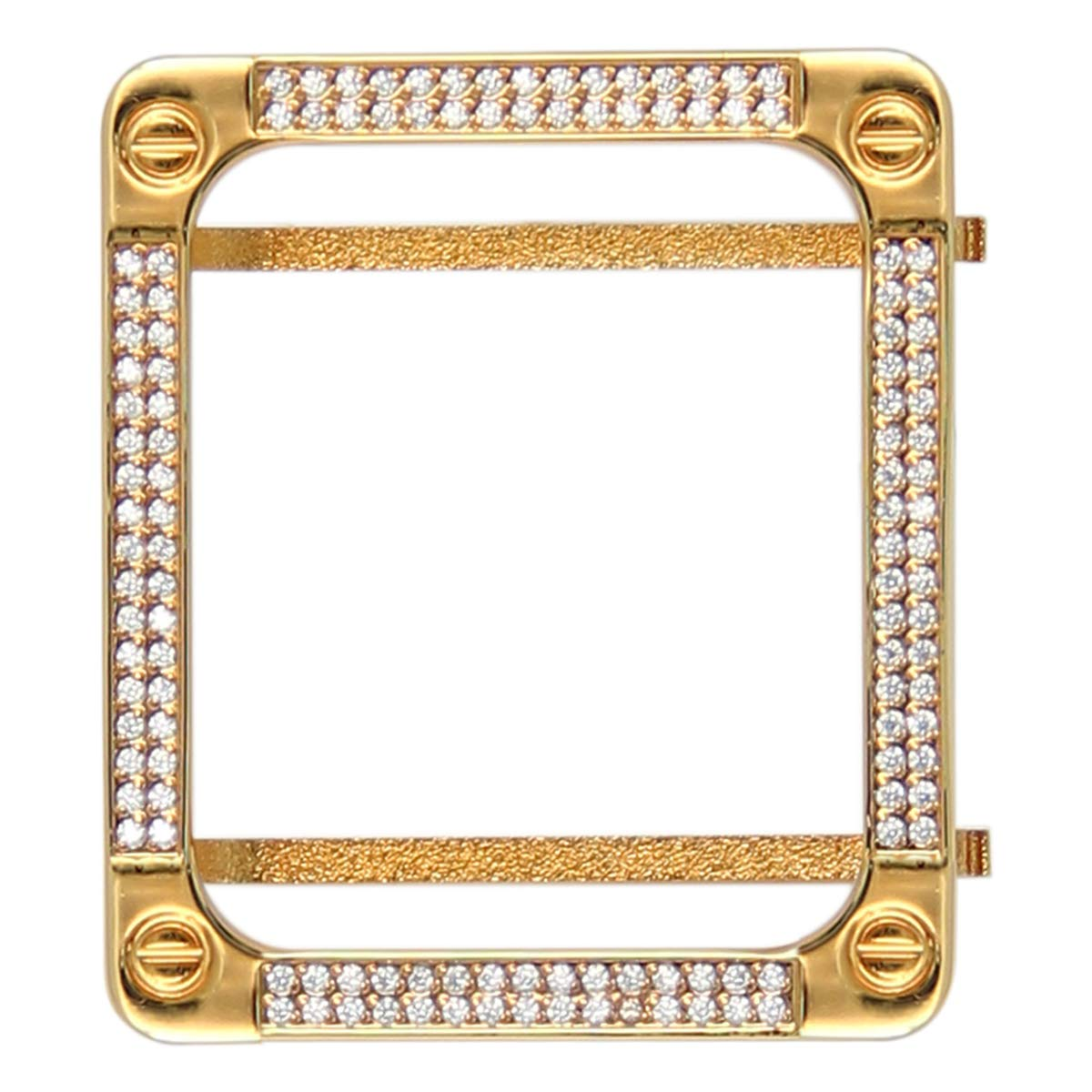 UKCOCO Compatible with Apple Watch 42MM Diamond Case, Square Diamond Two Row Metal Frame Case for iWatch(Gold) by UKCOCO