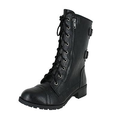 Soda Womens Dome Combat Boots | Mid-Calf