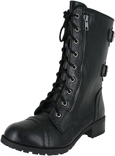 soda black combat boots