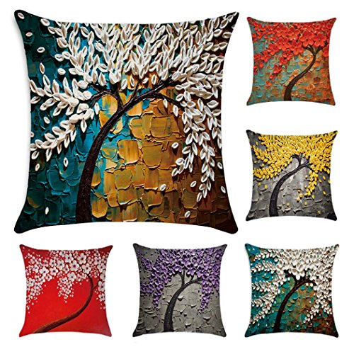 Oil Painting Print Polyester Throw Pillow Case Cushion Cover Home Sofa Decorative 18 X 18 Inch (6 Pack Pillow Case)
