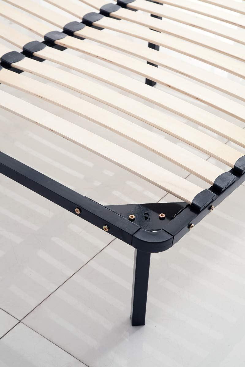 KOSMI - Somier de láminas 140x200 cm con patas para cama doble