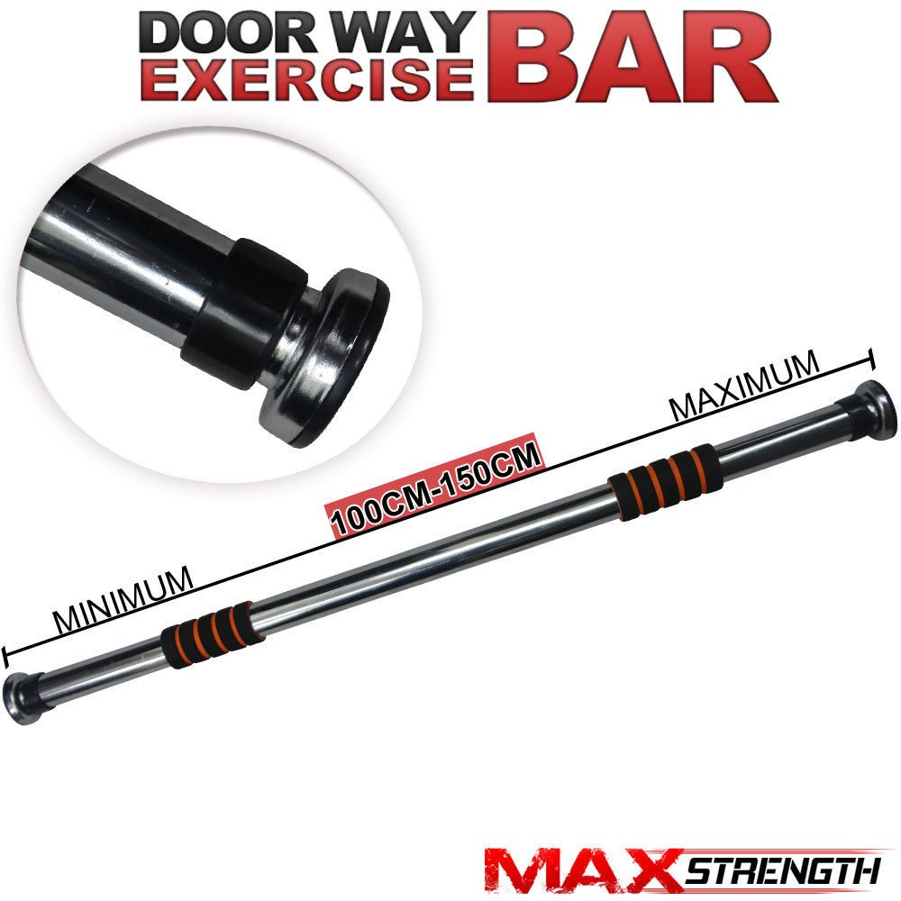 maxstrength chin pull ups door bar home gym exercise workout training adjustable length 100cm150cm amazoncouk sports u0026 outdoors