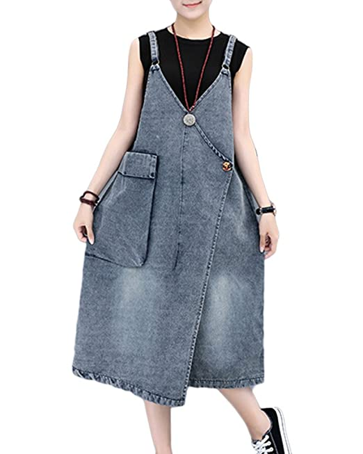 buy popular 5b166 06aa9 GladiolusA Donna Jeans Salopette Vestito Denim Gonna Overall ...