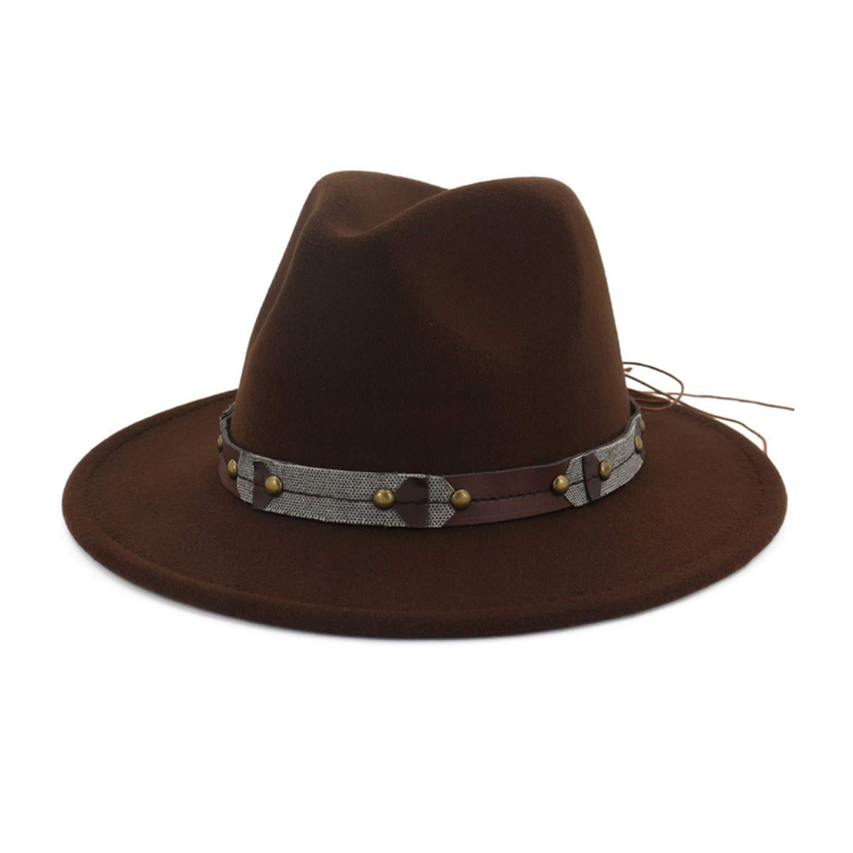 Vintage Wide Brim Wool Felt Fedora Men Woman Panama Hat Leisure Jazz Formal Hat Leather Decorated