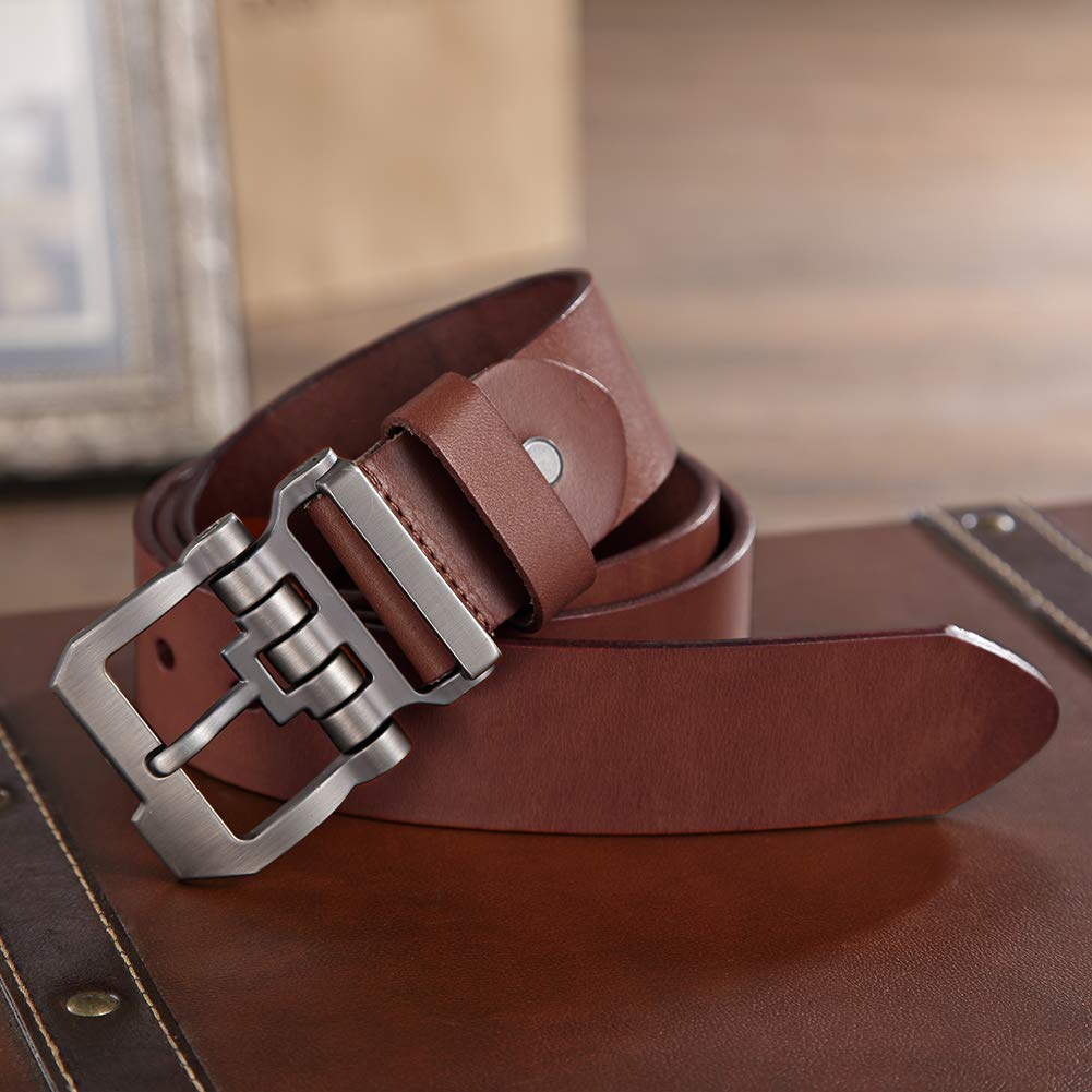 Brown01, 45inch(waist 26-38) Teemzone Mens Business Casual Style Leather Ratchet Belt Slide Automatic Belt buckles Gift box brown for Waist