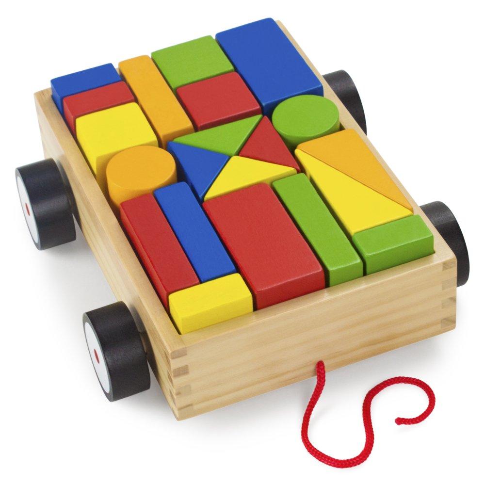 by Imagination Generation 21 pcs. Wooden Wonders Take-Along Building Block Wagon