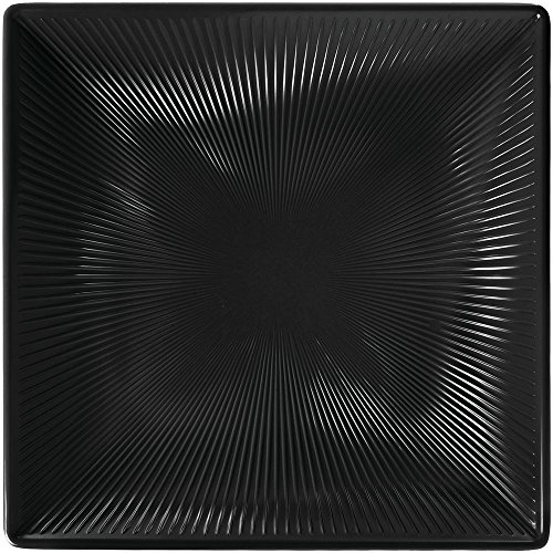 Elite Global Solutions M11SQT-B Sunburst II Collection Square Black Melamine Platter - 11