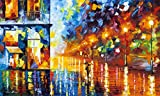 Blue Evening is a Limited Edition print from the Edition of 400. The artwork is a hand-embellished, signed and numbered Giclee on Unstretched Canvas by Leonid Afremov. The colors on this beautiful urban landscape pop of the canvas as the cooler color...
