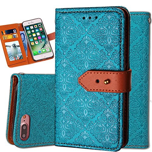 Auker Vintage Leather Folio Flip Wallet Stand Case Book Design Shockproof All-around Protective Cover Skin with 3 Card Holders&&Hidden Pocket for Women/Men for iphone 7 (Blue) ()