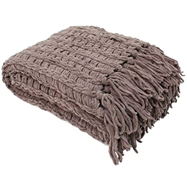 Luxury Chenille Woven Knitted Throw Blanket with Fringe (50x60  - Sable), Reversible, Soft, & Warm for Bed, Chair, Couch, Camping, Beach, or Travel