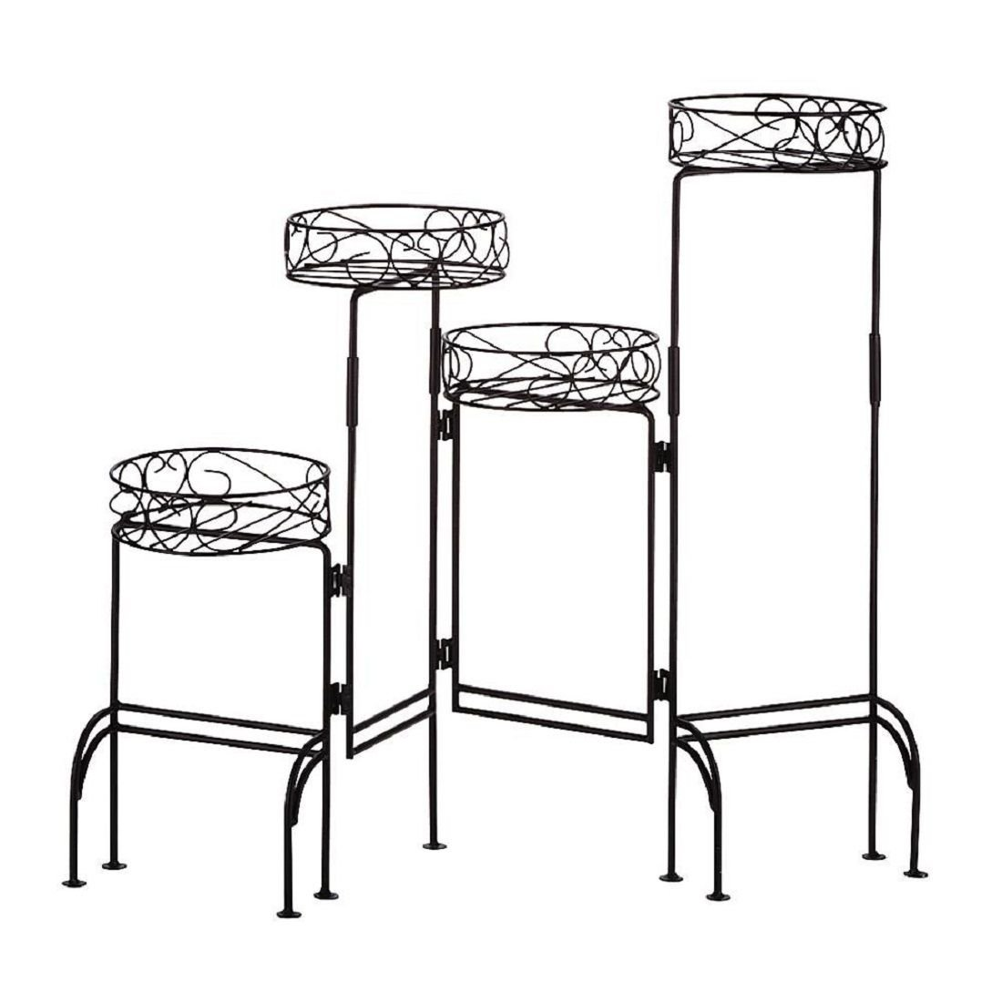 ON SALE FOUR-TIER PLANT STAND SCREEN MESH ADJUSTABLE FOLDING POT HOLDER NEW .#GH45843 3468-T34562FD383536