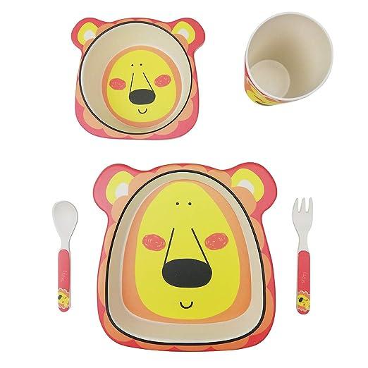 profesional vajilla Infantil Bebe de bambú 5 Piezas cubertería para niños Vaso de Beber Plato para niños Reciclaje de Material Natural-león