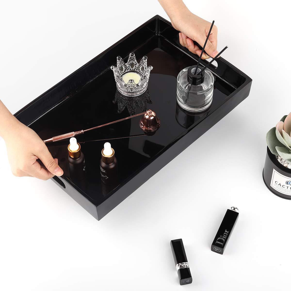 Schwarz Tragbar Rechteckig Kosmetisch Palette Ablagefach Schale mit Griff f/ür Kosmetisch Shampoo Sp/ülung Handtuch Luxspire Wasserdicht Harz Tablett